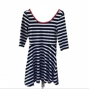 Express Women's Medium Fit And Flare Striped Dress